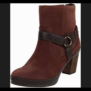 Clarks Brown Leather Heeled Gallery Ink Boot